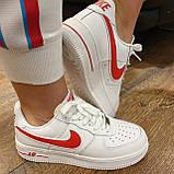 Женские кроссовки в стиле Air Force 1 Low  White Red, фото 2