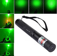Указка LASER GREEN, Лазерная указка с насадками, Зеленый луч, Мощный лазерный луч, Лазер прицел