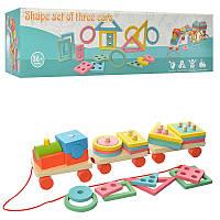 Деревянная игра Машинка паровозик, пирамидка, сортер, каталка, 2070