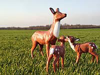 Садовая фигура Олениха №1 и два оленёнка.