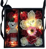 Подарочный набор мыла из роз С МИШКОЙ XY19-79   Мыло натуральное в подарочном наборе