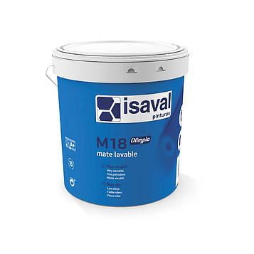 Краска акриловая матовая моющаяся для стен и потолков M18 олимпиа ISAVAL 15л до 180 м2/слой