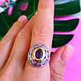 Серебряный комплект: серьги и кольцо с эмалью и золотом, фото 10