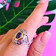 Серебряный комплект: серьги и кольцо с эмалью и золотом, фото 9