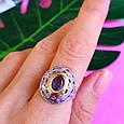 Серебряный комплект: серьги и кольцо с эмалью и золотом, фото 8