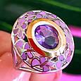 Серебряный комплект: серьги и кольцо с эмалью и золотом, фото 6