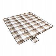 Водонепроницаемый с подкладкой коврик для пикника в Классическом клетчатом узоре 150x200 см. Коричневый