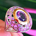 Серебряный комплект: серьги и кольцо с эмалью и золотом, фото 5