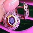 Серебряный комплект: серьги и кольцо с эмалью и золотом, фото 4