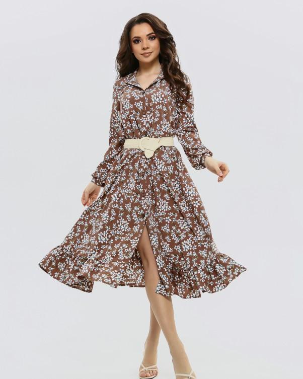 Коричневое принтованное платье на кулиске (S M L XL)