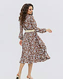 Коричневое принтованное платье на кулиске (S M L XL), фото 3