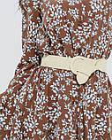Коричневое принтованное платье на кулиске (S M L XL), фото 4