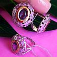 Серебряный комплект: серьги и кольцо с эмалью и золотом, фото 2