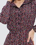 Цветочное платье-рубашка с длинными рукавами, фото 4