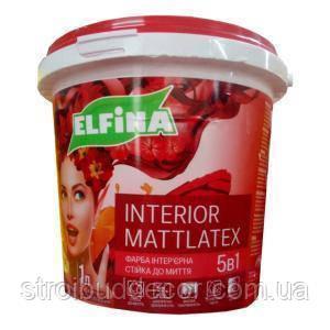 Краска интерьерная для стен и потолка белая  Elfina interior mattlatex 5в1  10литров 15 кг