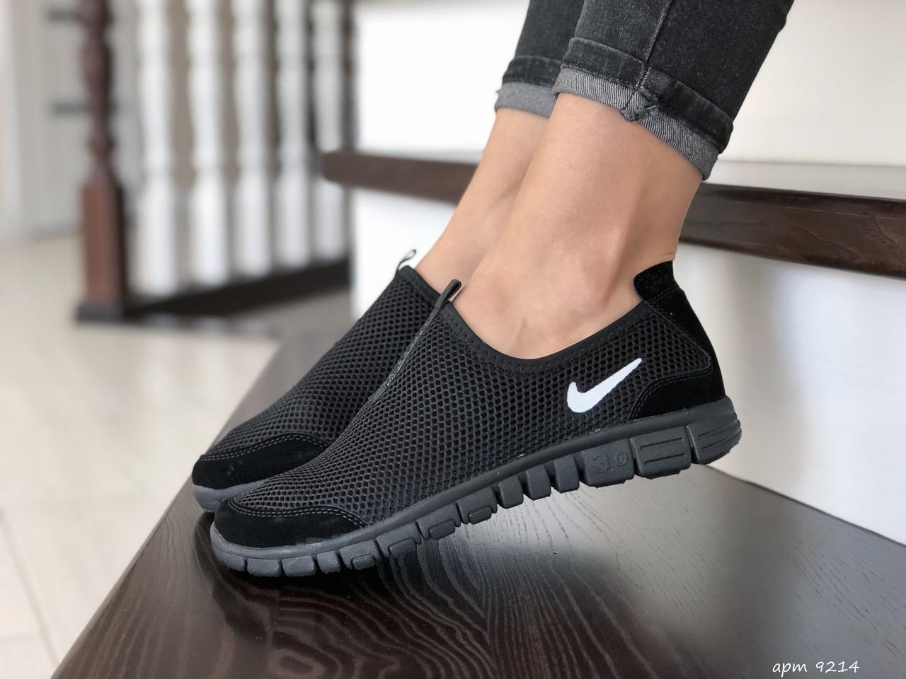 Женские кроссовки летние Nike Free Run 3.0,черные