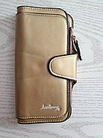 Женский кошелек клатч портмоне Baeller Forever золотистый блестящий