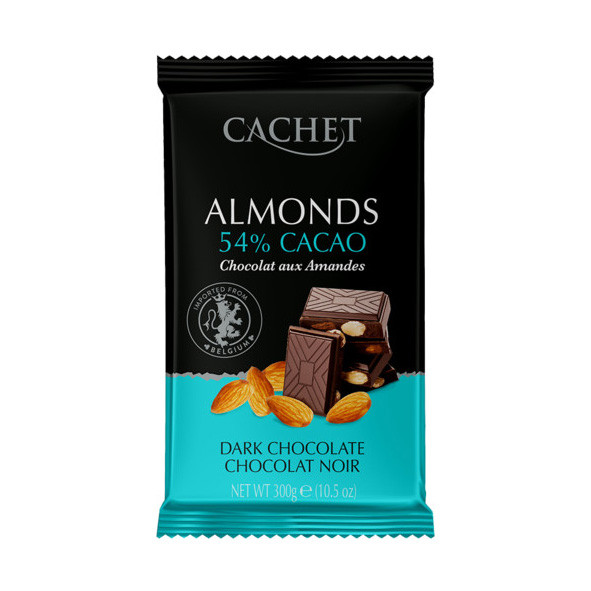 Шоколад Cachet №44 чорний з мигдалем 300г (12шт/ящ)