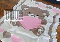 Вязаный с подкладкой детский плед одеяло 90*80 для новорожденных малышей детей ребёнку в коляску 4032 Розовый
