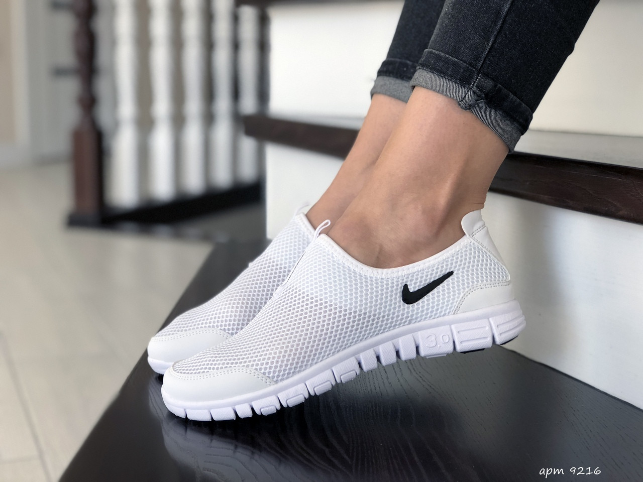 Женские кроссовки летние Nike Free Run 3.0,белые