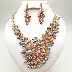 """Комплект SONATA """"Жар-птиця"""" (Кольє + сережки), камені кольору """"хамелеон"""", 63068 (1)"""