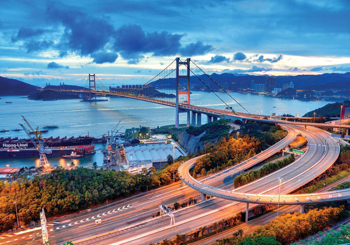 Пазлы на 1000 элементов Tsing Ma Bridge Hong Kong DankoToys С1000-10-08