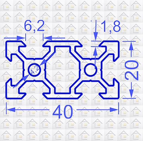 Алюминиевый конструкционный станочный V-образный профиль 40х20 анодированный, фото 2