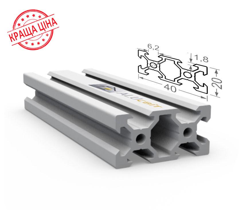 Алюминиевый конструкционный станочный V-образный профиль 40х20 без покрытия