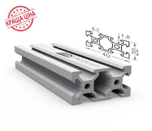 Алюминиевый конструкционный станочный V-образный профиль 40х20 без покрытия, фото 2