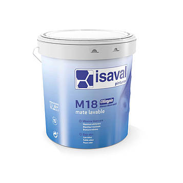 Краска акриловая матовая антигрибковая M18 олимпиа nieve sanit ISAVAL 4л до 48 м2/слой
