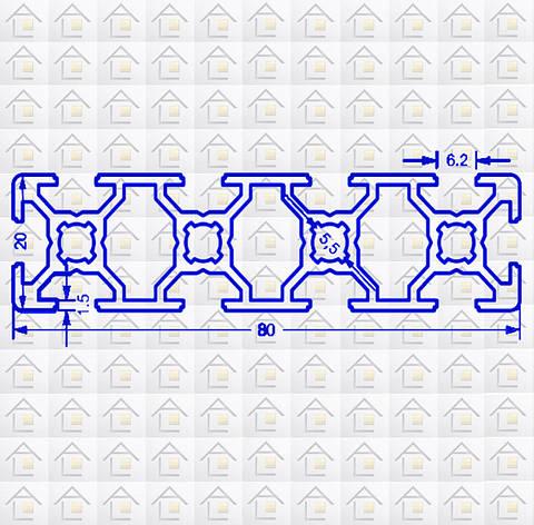Алюминиевый конструкционный станочный 80х20 анодированный, фото 2