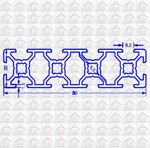 Алюминиевый конструкционный станочный 80х20 без покрытия, фото 2