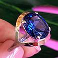 Серебряный комплект: серьги и кольцо с танзанитом и золотом, фото 7