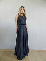 Вечернее длинное платье на свадьбу, на выпускной, синее с блеском, нарядное, коктейльное