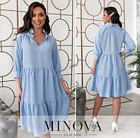 Лляне розкльошені сукні жіноче (2 кольори) ОМ/-843 - Блакитний, фото 1