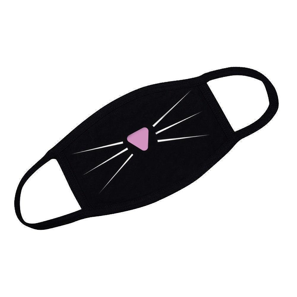 Маска женская черная с принтом Котик (мордочка) маска для девочек