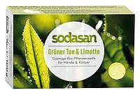 Органическое антибактериальное мыло-крем Sodasan для лица и тела Зеленый чай-Лайм 100 г