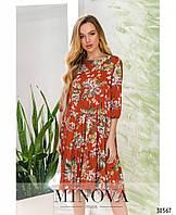 Яркое летнее платье с подкладкой, сверху - лёгкая ткань, присобренная оборками с 42 по 48 размер