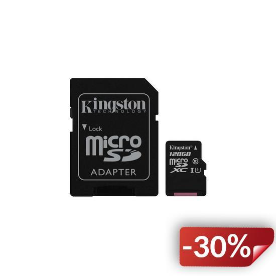 Карта памяти Kingston microSDXC 128GB Canvas Select Class 10 UHS-I U1 + SD-адаптер (SDCS/128GB)