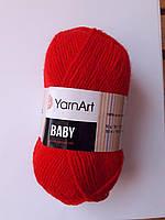 Нитки для в'язання пряжа  акрилова дитяча  Baby YarnArt, 100% акрил 50 гр., 150 м,  156 , яскравий червоний