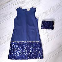 Платье для девочек в синем цвете 6,7,8,9 лет