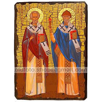 Икона Николай Чудотворец и Спиридон Тримифунтский ,икона на дереве 130х170 мм