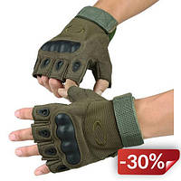 Перчатки без пальцев  штурмовые тактические Oakley KJB00321 XL Зеленый (tau_krp186_00321)