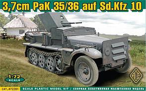 37mm PAK 35/36 AUF SD. KFZ 10. Сборная модель в масштабе 1/72. ACE 72281