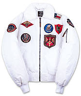 Бомбер Top Gun Official B-15 Men's Flight Bomber Jacket With Patches TGJ1542P (White), фото 1