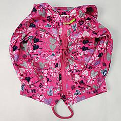 Детская куртка ветровка для девочки розовая сердечки 2-3 года