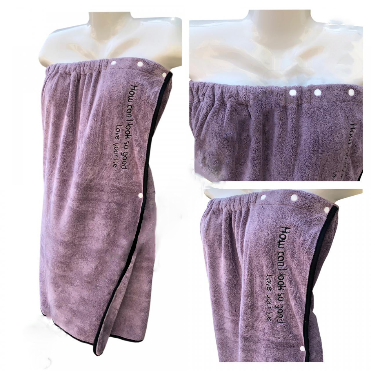 Набор для сауны и бани женский 2 предмета полотенце-халат + шапочка Премиум