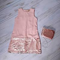 Платье для девочек в розовом цвете 6,7,8,9 лет