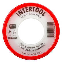 Лента тефлоновая, фум (политетрафторэтиленовая) 15 м*0.1 мм*12 мм, 0.2 г/см³ INTERTOOL IT-0001