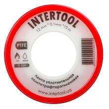Стрічка тефлонова, фум (политетрафторэтиленовая) 15 м*0.1 мм*12 мм, 0.2 г/см3 INTERTOOL IT-0001